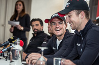 2014 Paris-Roubaix PreRace PressConference BMC GregVANAVERMAT(BEL-BMC).shares a laugh wih TaylorPHINNEY(USA-BMC)jpg