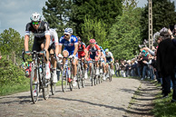 2014 Paris-Roubaix, Peloton cross Pave, led by NikkiTERPSTRA(NED-OPQ), who went on to win race.