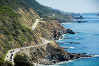 2014 Amgen Tour of California Stage 04 Peloton race along scenic Pacific Coastal Highway One north of Cambria