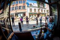 2015 Grands Prix Cyclistes de Québec et de Montréal Quebec Race Fans watch race from pub