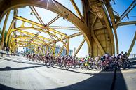 2015 Amgen Tour of California Stage01 Peloton cross  Tower Bridge out of Sacramento