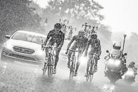 2015 Grands Prix Cyclistes de Québec et de Montréal Montreal Race, Breakaway of ThomasVOCKLER(FRA-EUC), AndriyGRIVKO(UKR-AST), ManuelQUINZIATO(ITA-BMC), and LouisV(BEL-LTS) ride through the rain