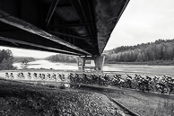 2015 Tour of Alberta Stage02 Peloton ride under Alberta Highway 40 bridge past WAPITI River