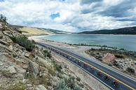 2015 Tour of Utah Stage 6 Optum Lead Peloton past Reservoir