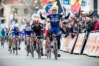 2016_Driedaagse De Panne-Koksijde_Stage3a, Finish, MarcelKITTEL(GER-EQS) celebrates after winning stage, 2nd Phil BAUHAUS(GER-BOA), 3rd AlexanderKRISTOFF(NOR-KAT)